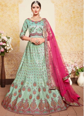 Satin Silk Trendy A Line Lehenga Choli