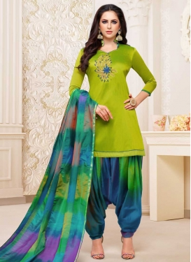 Satin Silk Trendy Patiala Salwar Suit For Ceremonial