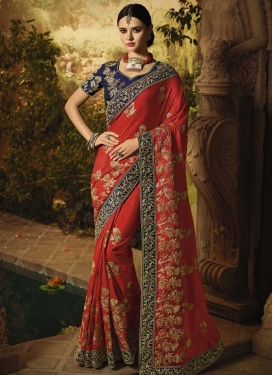 Satin Silk Trendy Saree For Bridal