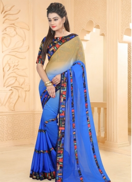 Savory Beige and Blue Contemporary Style Saree For Casual
