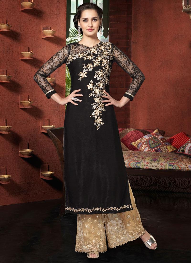 Savory Black Color Palazzo Style Designer Salwar Kameez