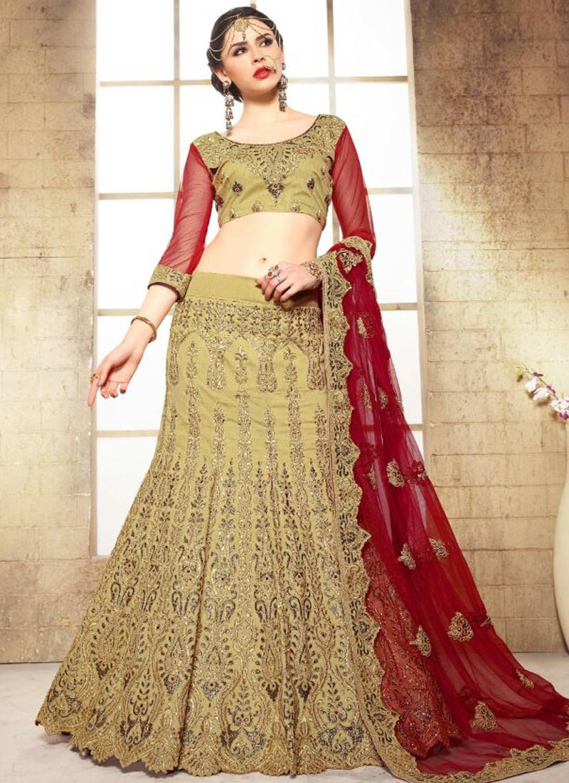 Savory Cream And Crimson Color Bridal Lehenga Choli