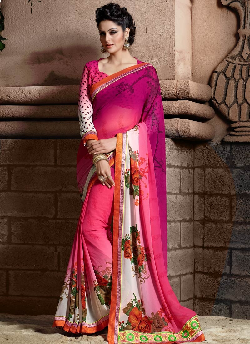 Savory Digital Print And Resham Work Casual Saree