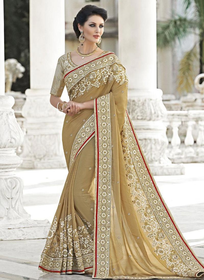 Savory Embroidery Work Pure Georgette Wedding Saree