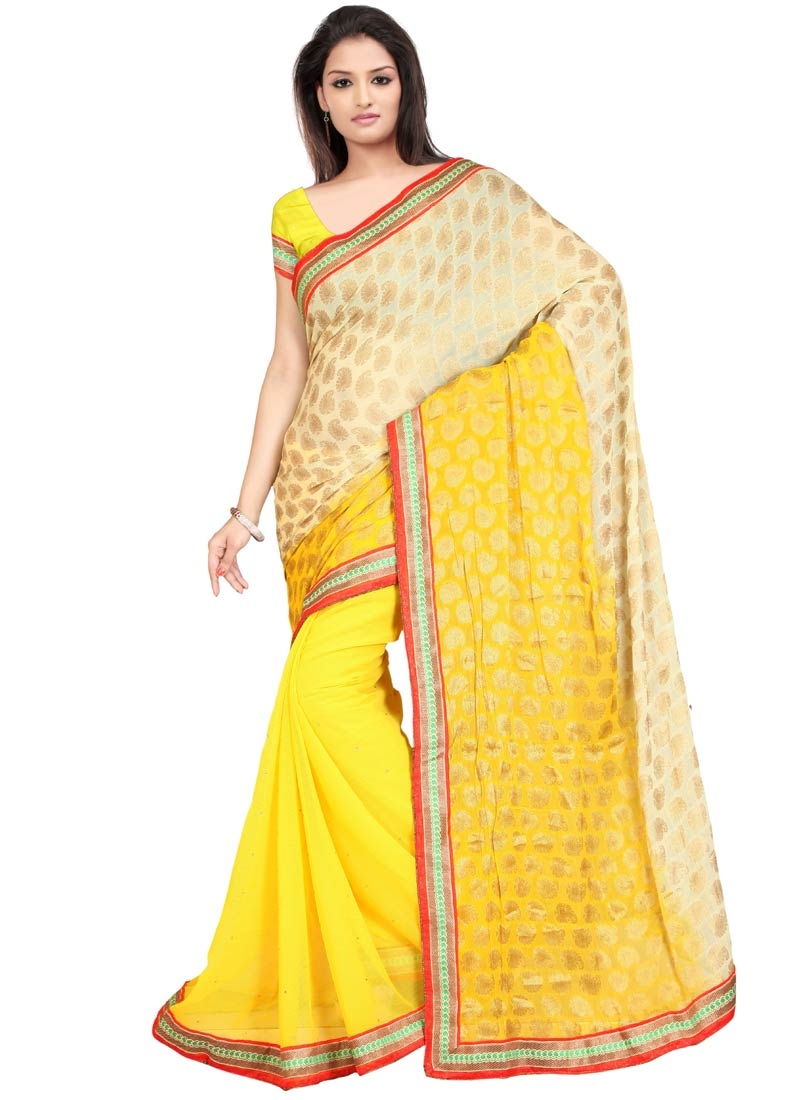 Savory Faux Chiffon Half N Half Party Wear Saree
