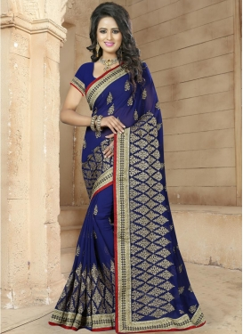 Savory Faux Georgette Traditional Saree For Festival