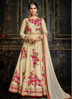 Savory Floral Work Silk Ankle Length Anarkali Salwar Suit For Festival