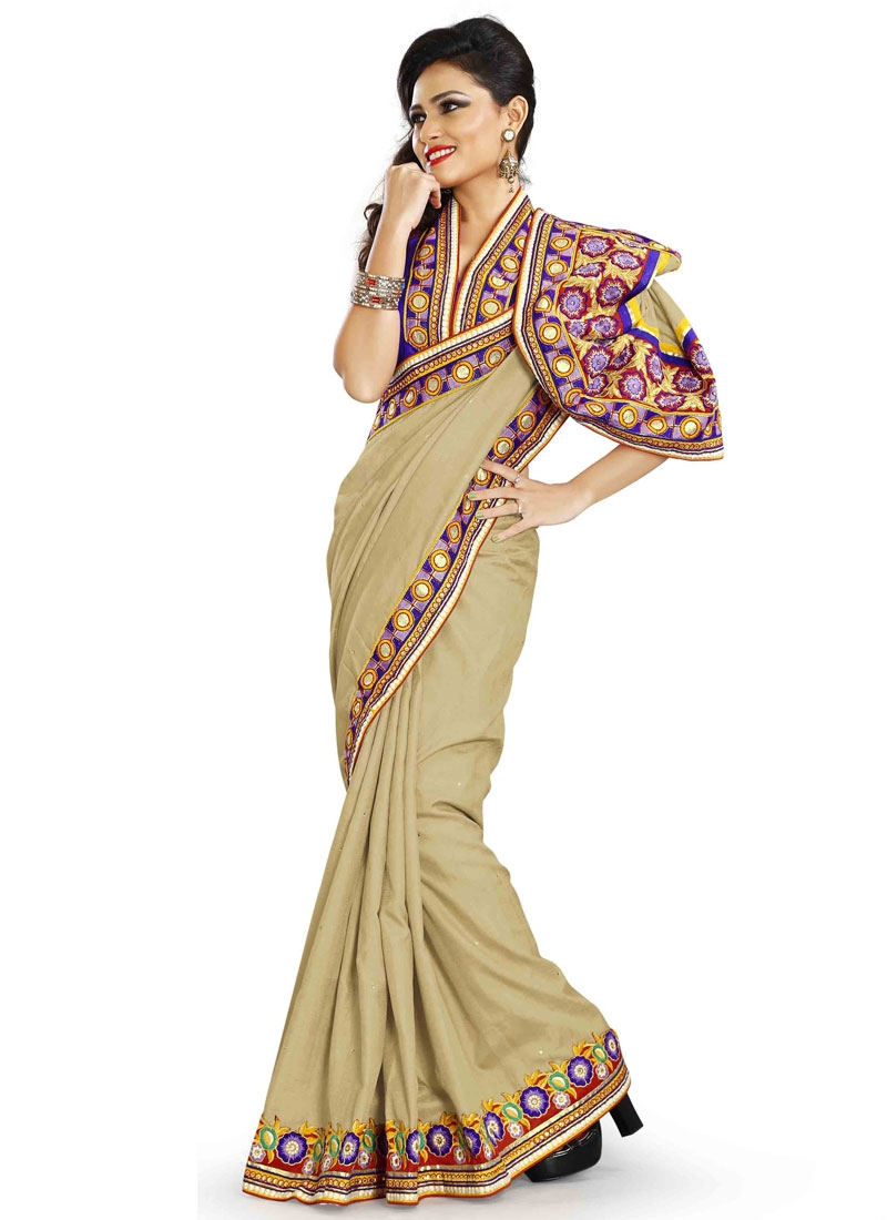 Savory Lace Work Beige Color Silk Designer Saree