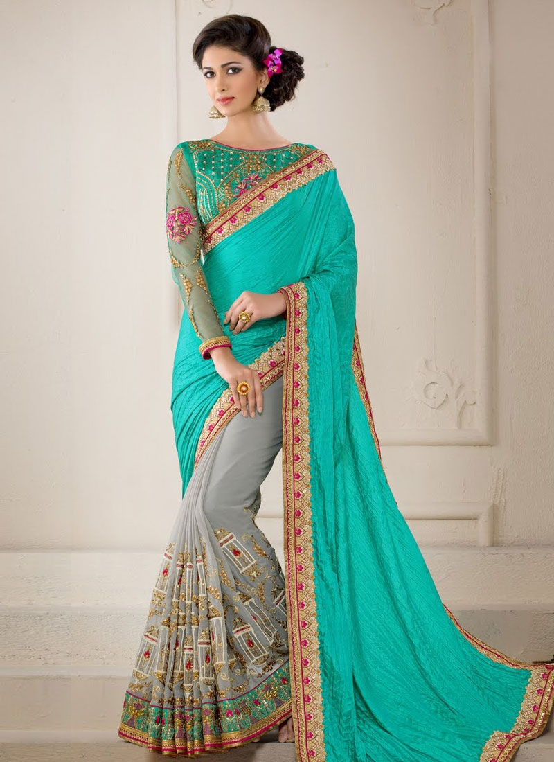 Savory Lace Work Turquoise Color Half N Half Wedding Saree