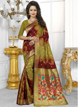 Savory Maroon and Olive Resham Work Traditional Saree