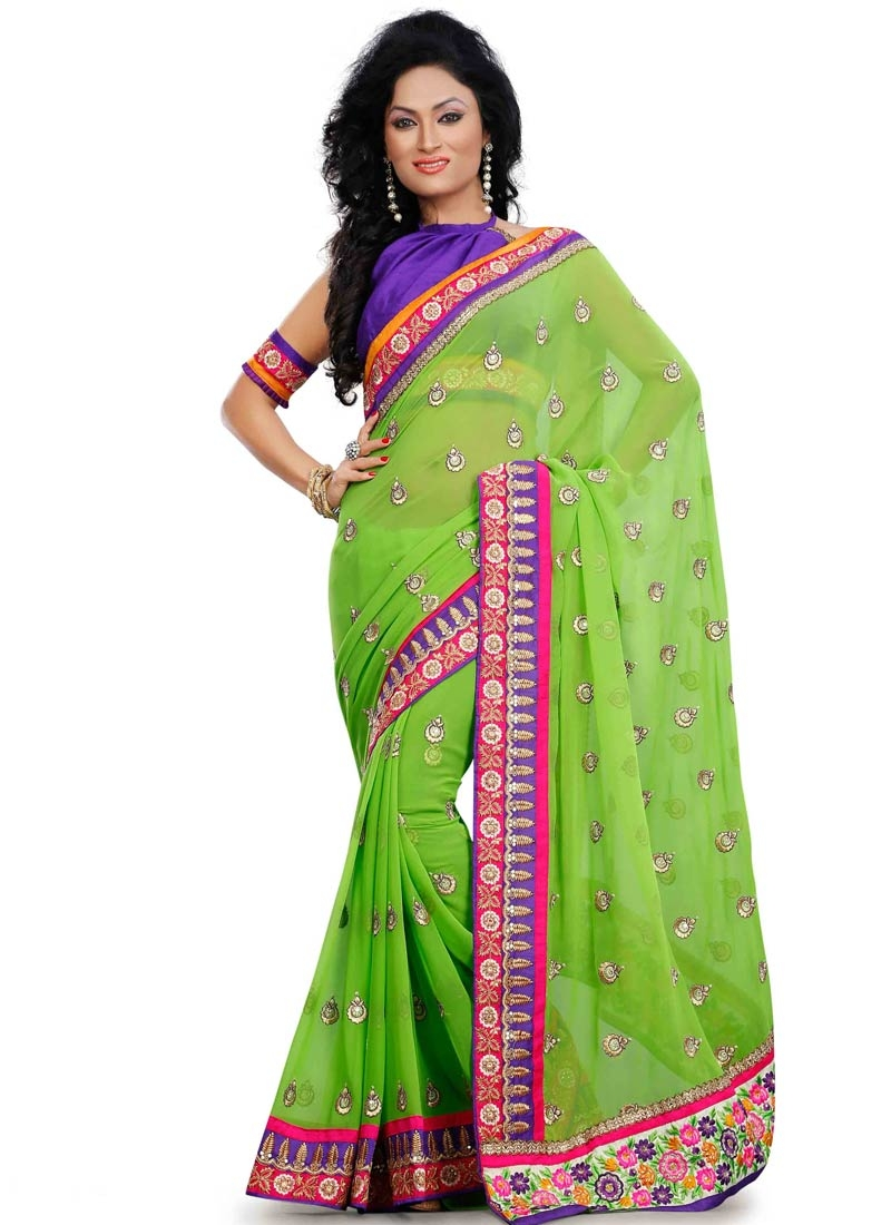 Savory Mint Green Color Lace Work Designer Saree