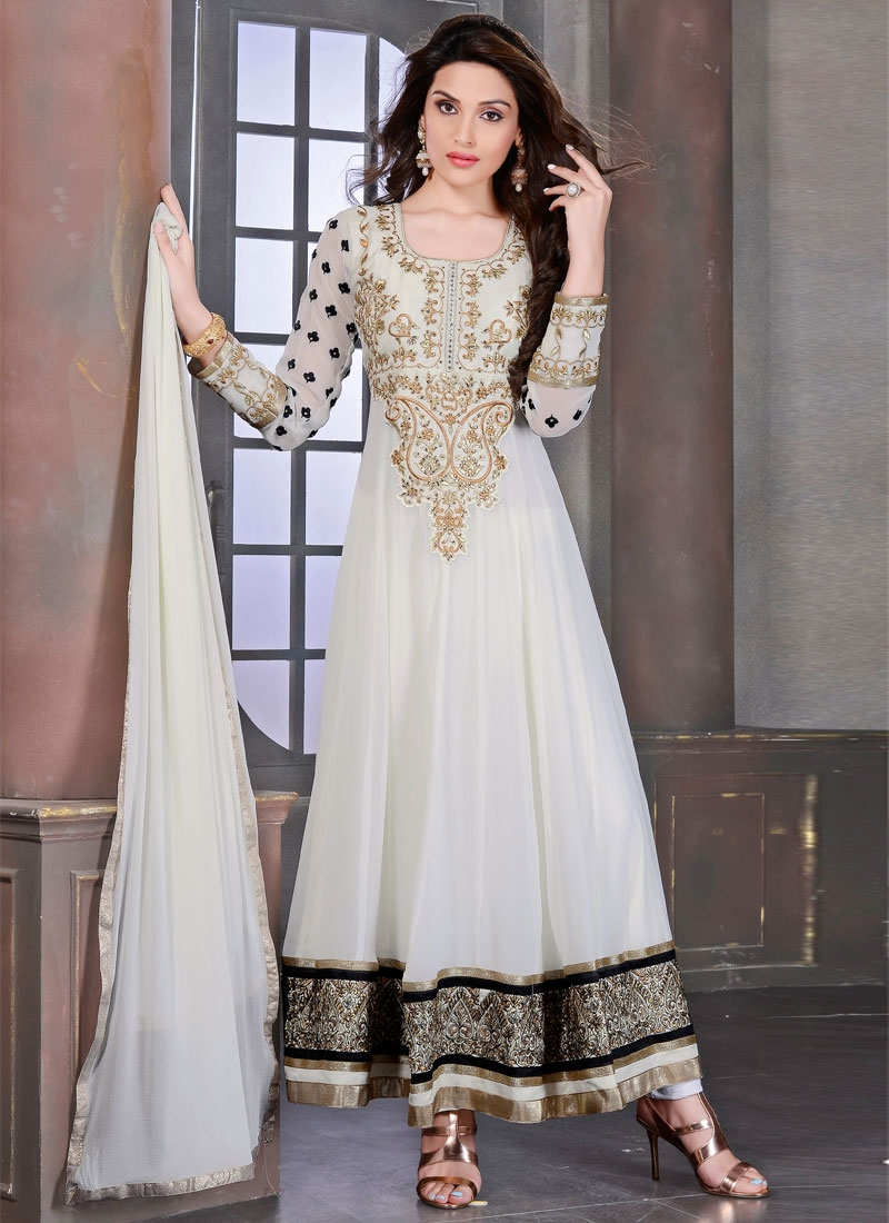 Savory Off White Color Georgette Anarkali Salwar Kameez