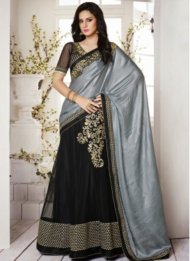 Savory Patch Work Satin And Net Lehenga Saree