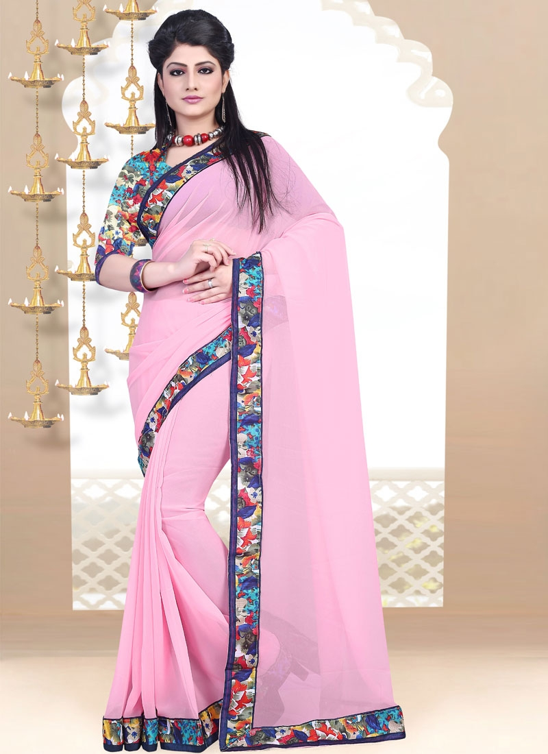 Savory Pink Color Lace Work Casual Saree