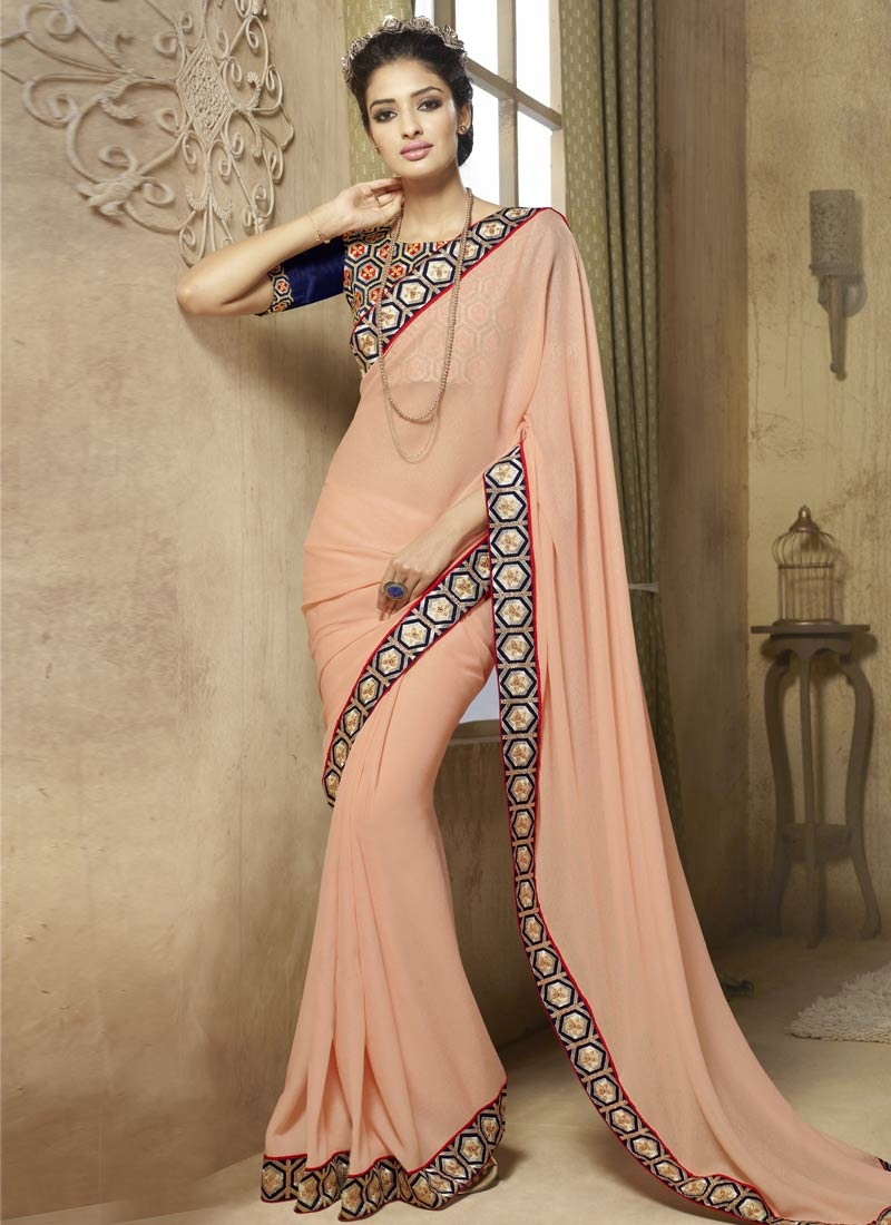 Savory Resham Work Fancy Fabric Party Wear Saree