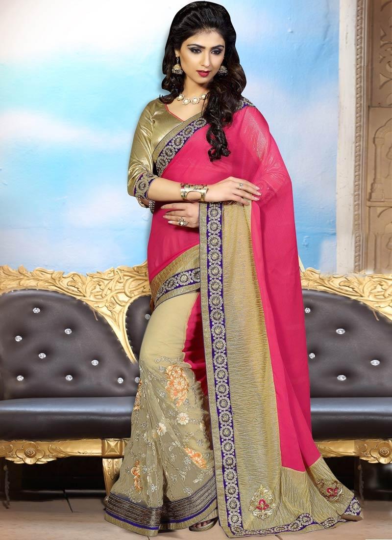 Savory Resham Work Net Half N Half Party Wear Saree