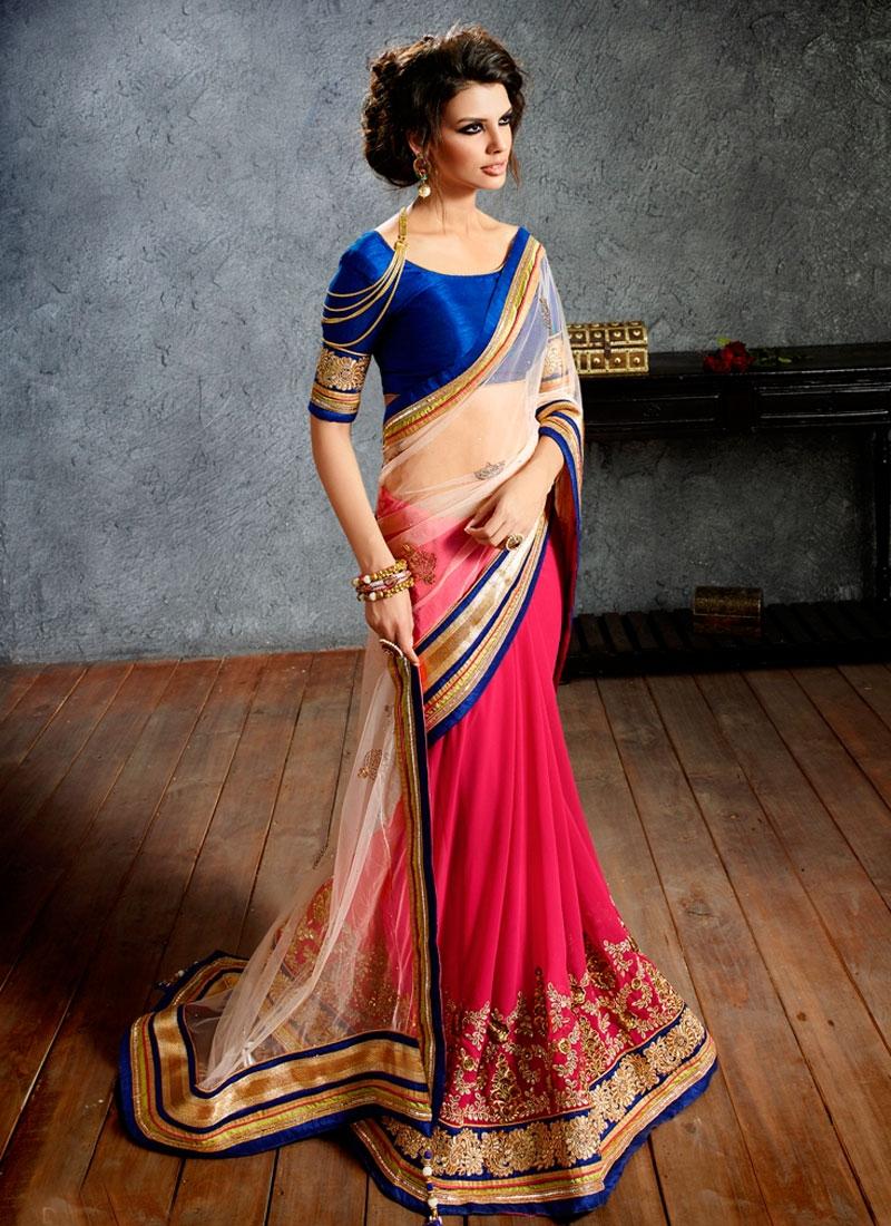 Savory Rose Pink Color Half N Half Bridal Saree