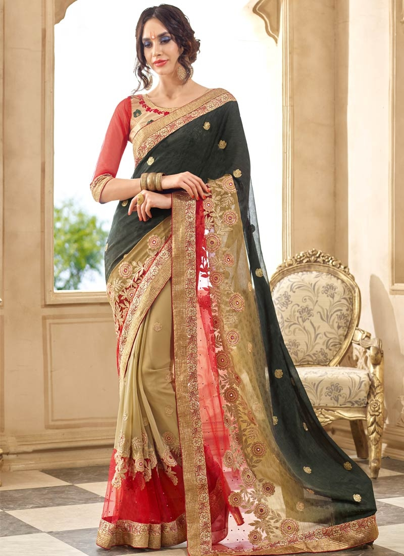 Savory Stone And Mirror Work Net Party Wear Saree