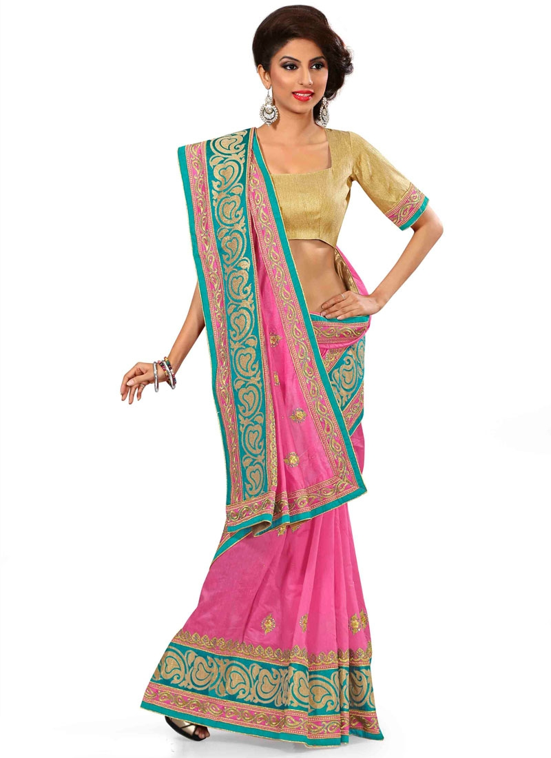 Savory Stone Work Chanderi Silk Party Wear Saree