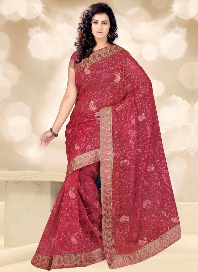 Savory Stone Work Tissue Party Wear Saree