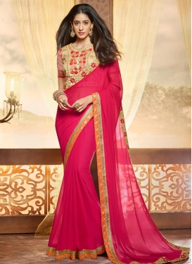 Scintillating Beige and Rose Pink Faux Chiffon Contemporary Style Saree