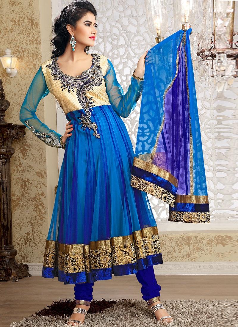 Scintillating Blue Color Net Salwar Kameez