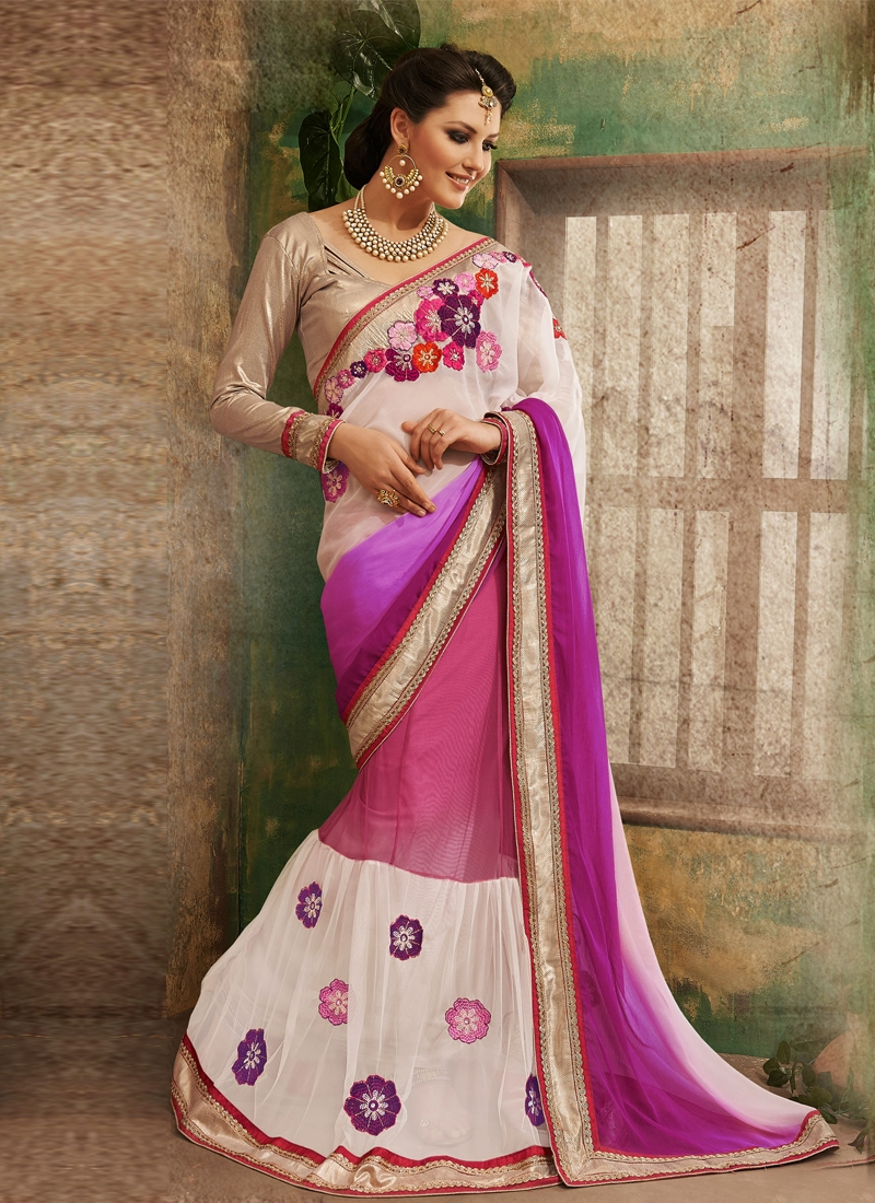 Scintillating Chiffon And Net Lehenga Saree