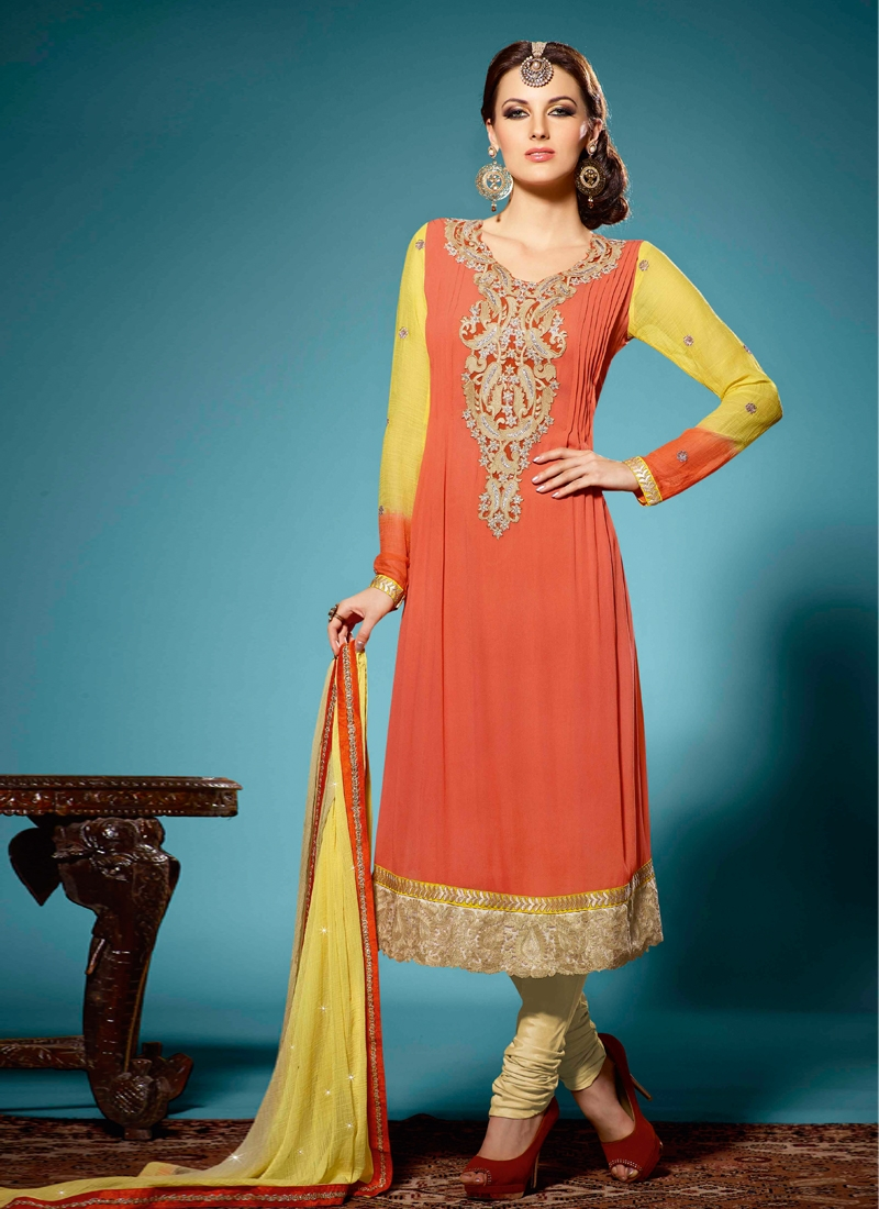 Scintillating Coral Color Georgette Party Wear Suit