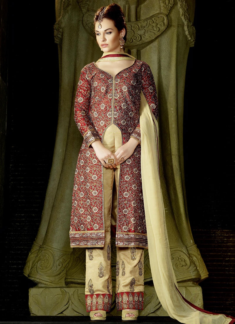 Scintillating Embroidery Pant Style Work Designer Salwar Suit