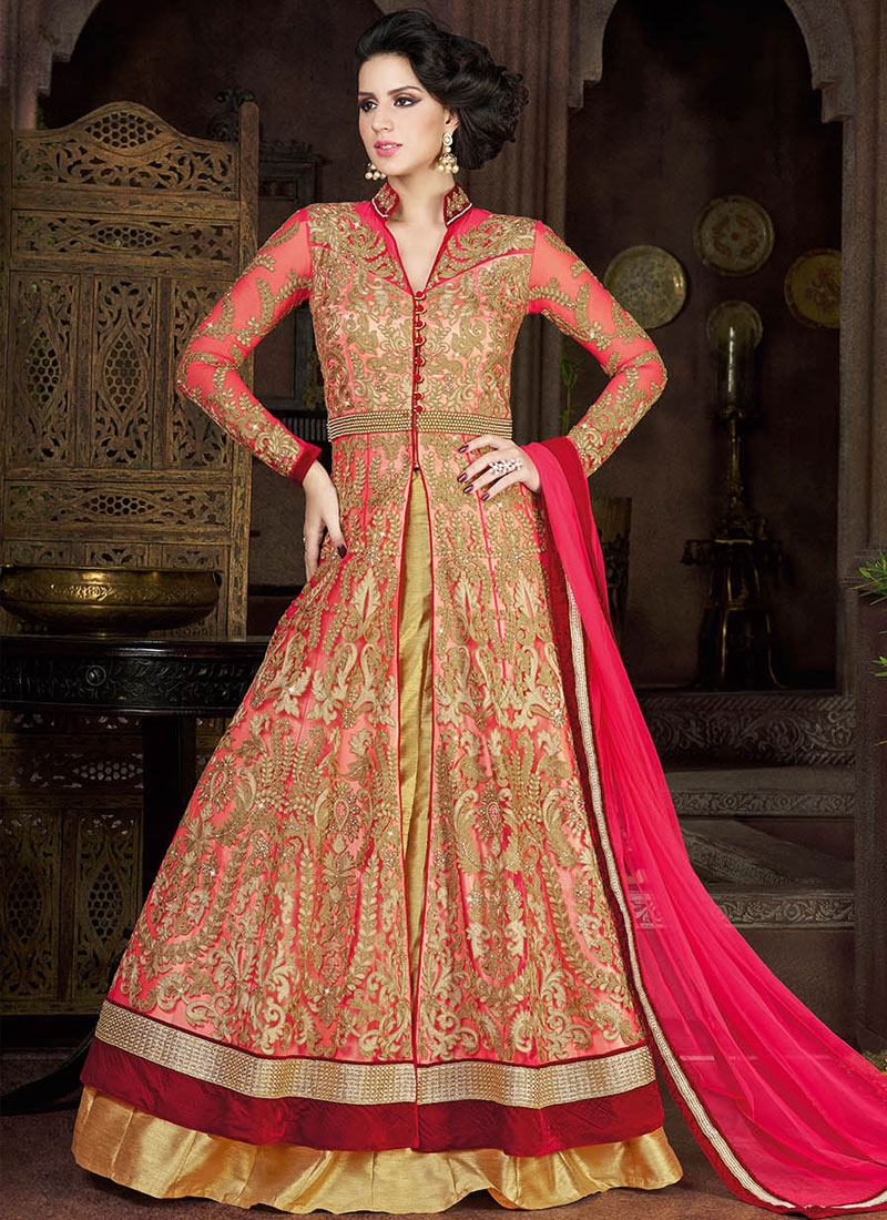 Scintillating Embroidery Work Kameez Style Wedding Lehenga Choli