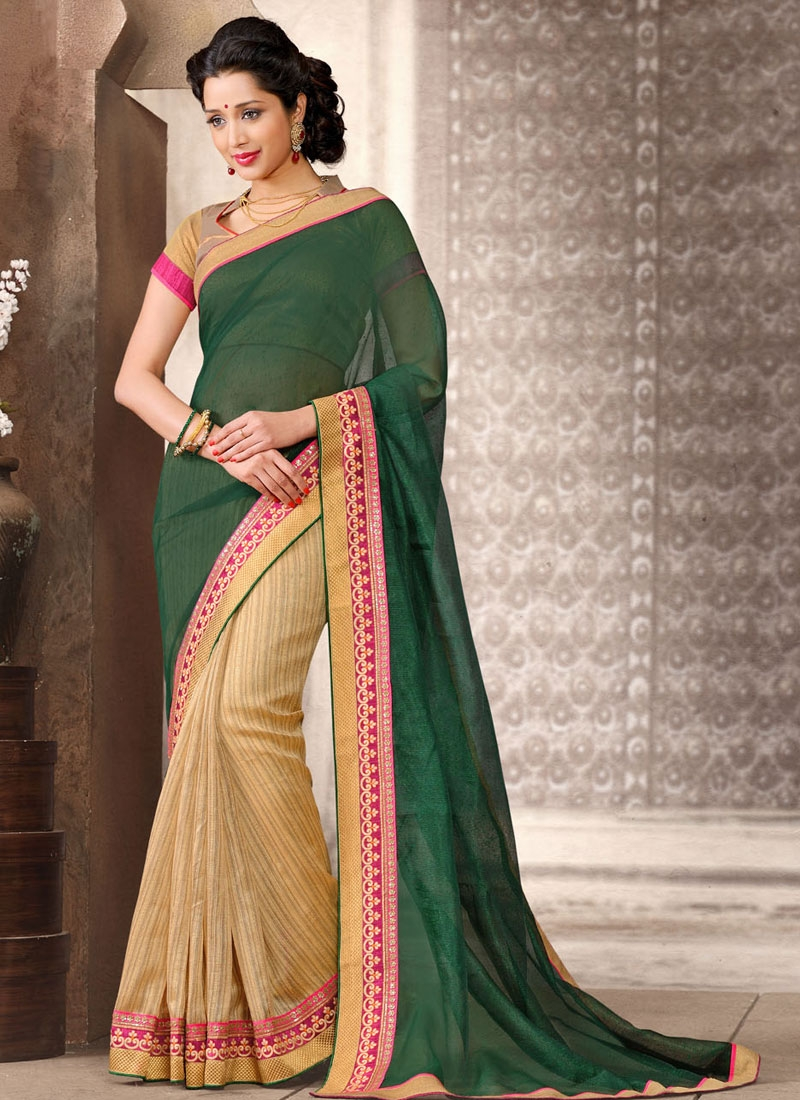 Scintillating Lace And Resham Work Half N Half Casual Saree