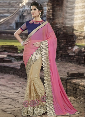 Scintillating  Net Booti Work Beige and Pink Half N Half Designer Saree