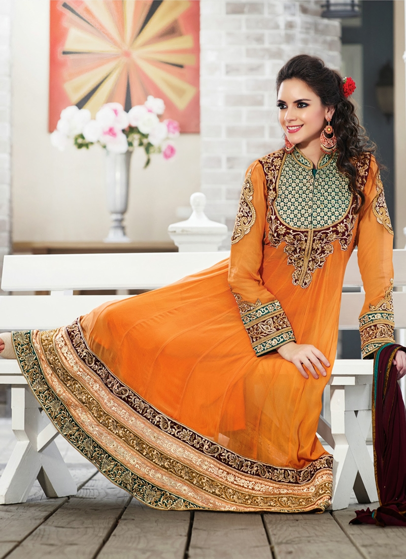 Scintillating Orange Color Wedding Salwar Suit