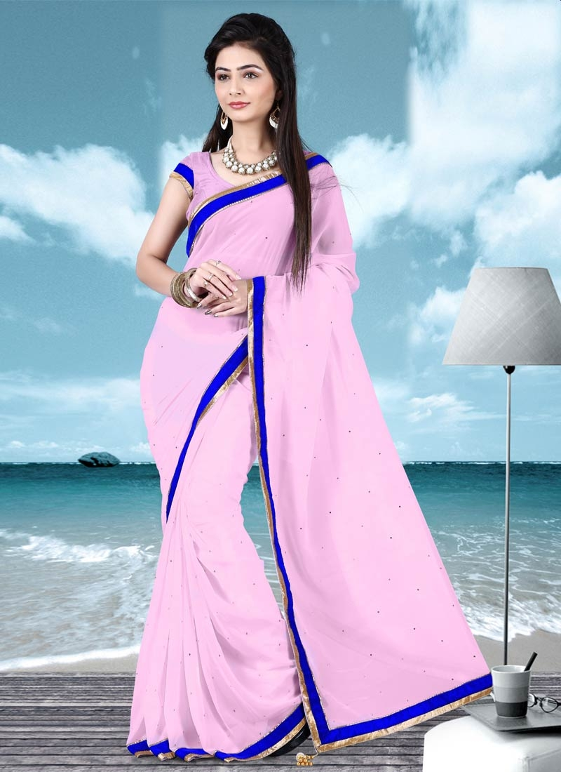 Scintillating Pink Color Faux Georgette Casual Saree
