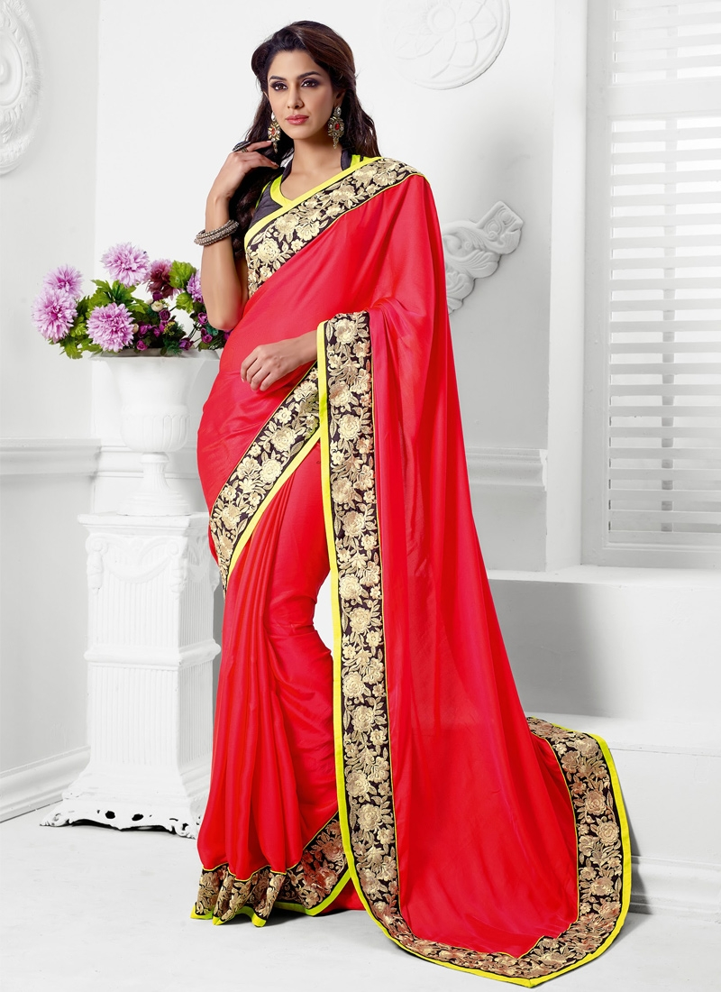 Scintillating Red Satin Party Wear Saree