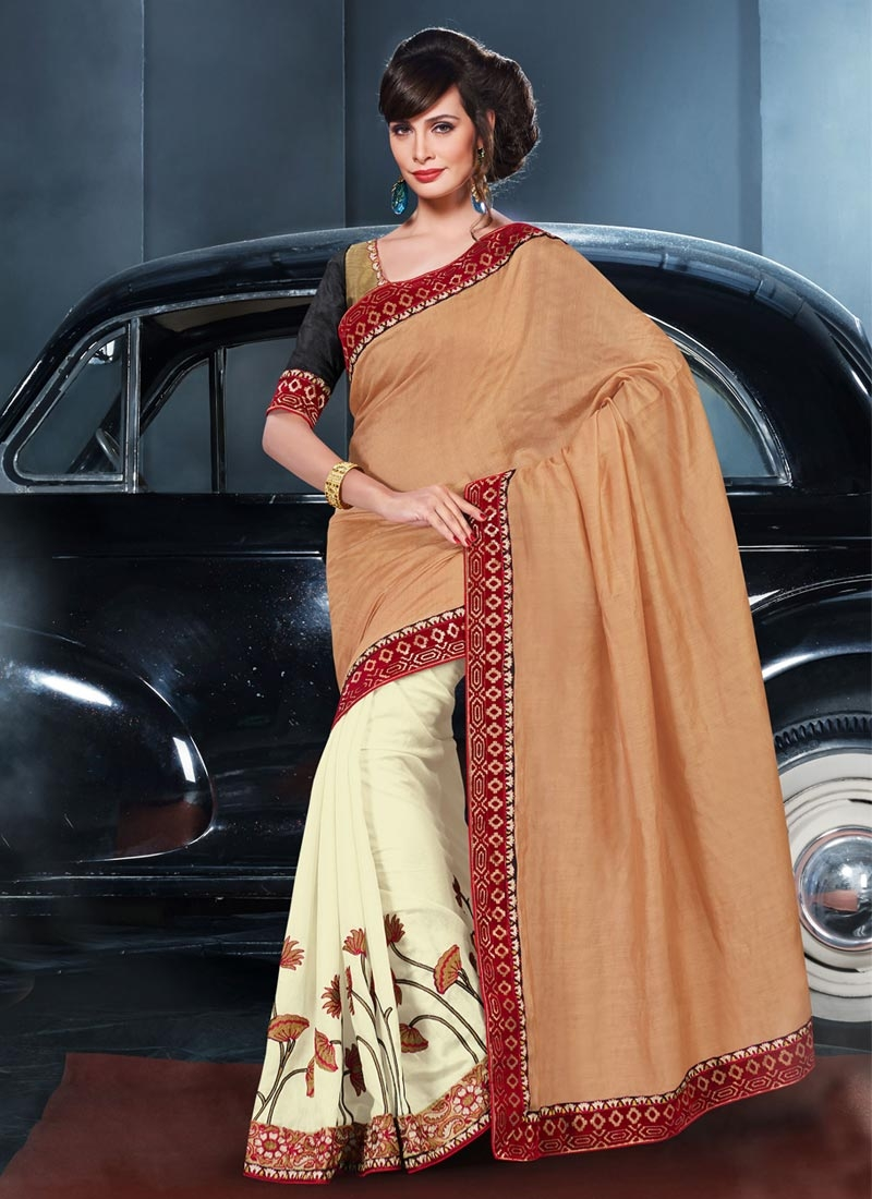 Scintillating Resham Work Cream Color Half N Half Party Wear Saree