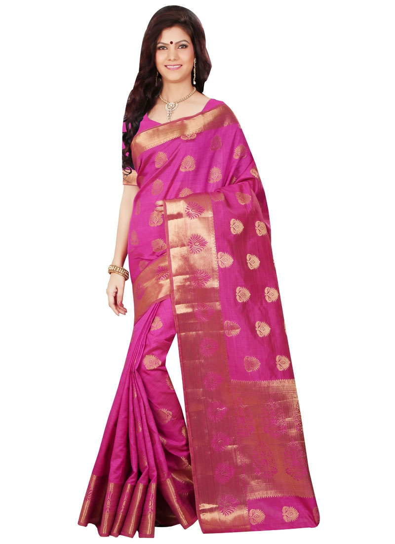Scintillating Resham Work Rose Pink Color Party Wear Saree