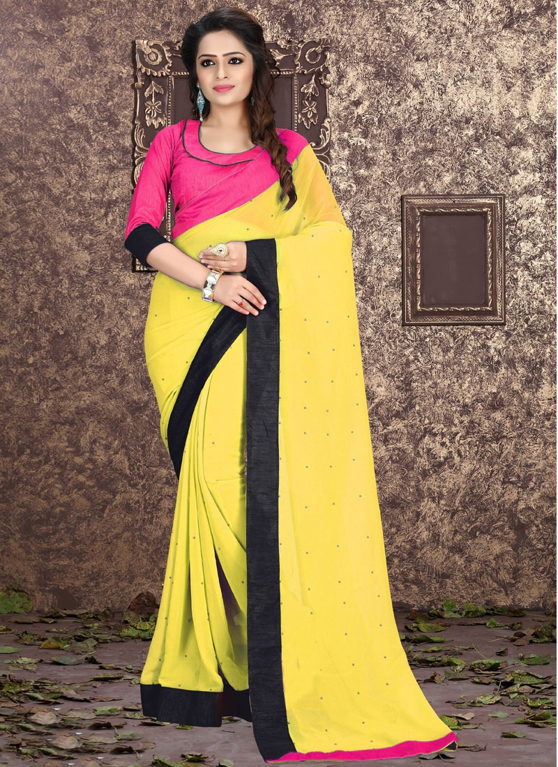 Scintillating Stone And Lace Work Casual Saree