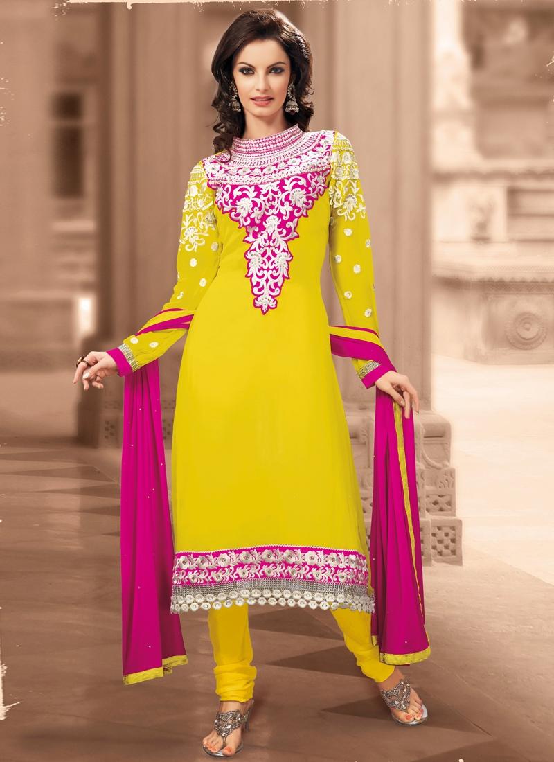 Scintillating Yellow Color Anarkali Salwar Kameez