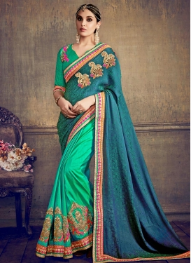 Sea Green and Teal Booti Work Half N Half Trendy Saree