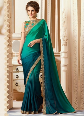 Sea Green and Teal Contemporary Style Saree