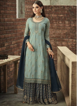 Sea Green and Teal Designer Palazzo Salwar Suit For Festival