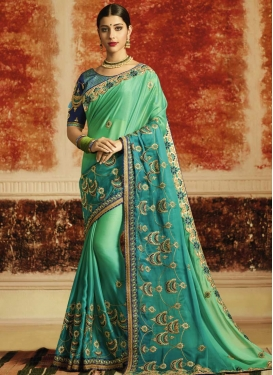 Sea Green and Teal Embroidered Work Traditional Designer Saree