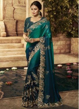Sea Green and Teal Traditional Saree For Bridal