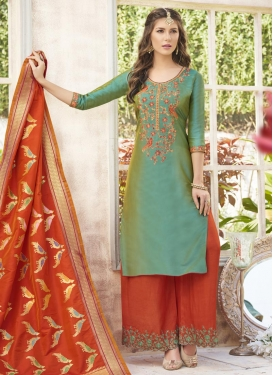 Sea Green and Tomato Palazzo Straight Salwar Suit