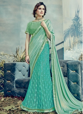 Sea Green and Turquoise Beads Work Lycra Lehenga Style Saree