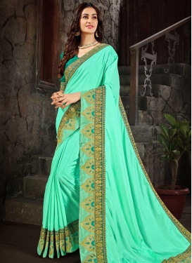 Sea Green and Turquoise Trendy Classic Saree For Ceremonial