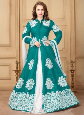Sea Green and White Kameez Style Lehenga Choli