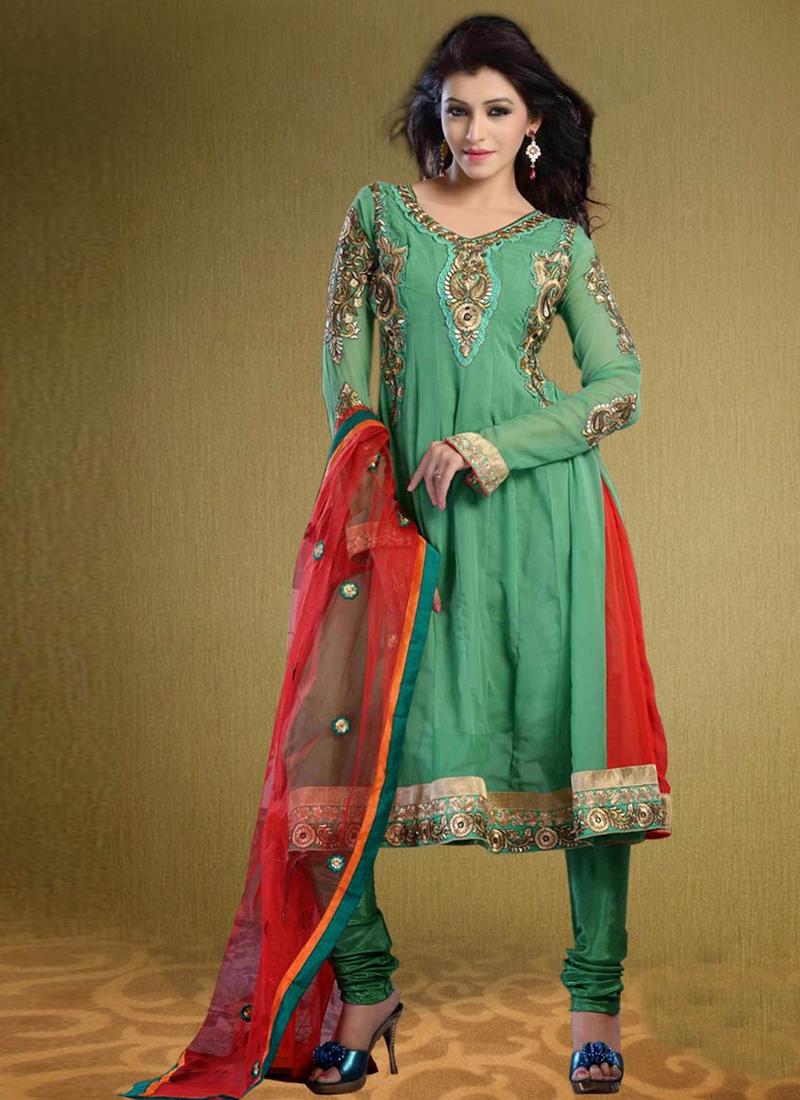 Sea Green Color Georgette Party Wear Salwar Kameez