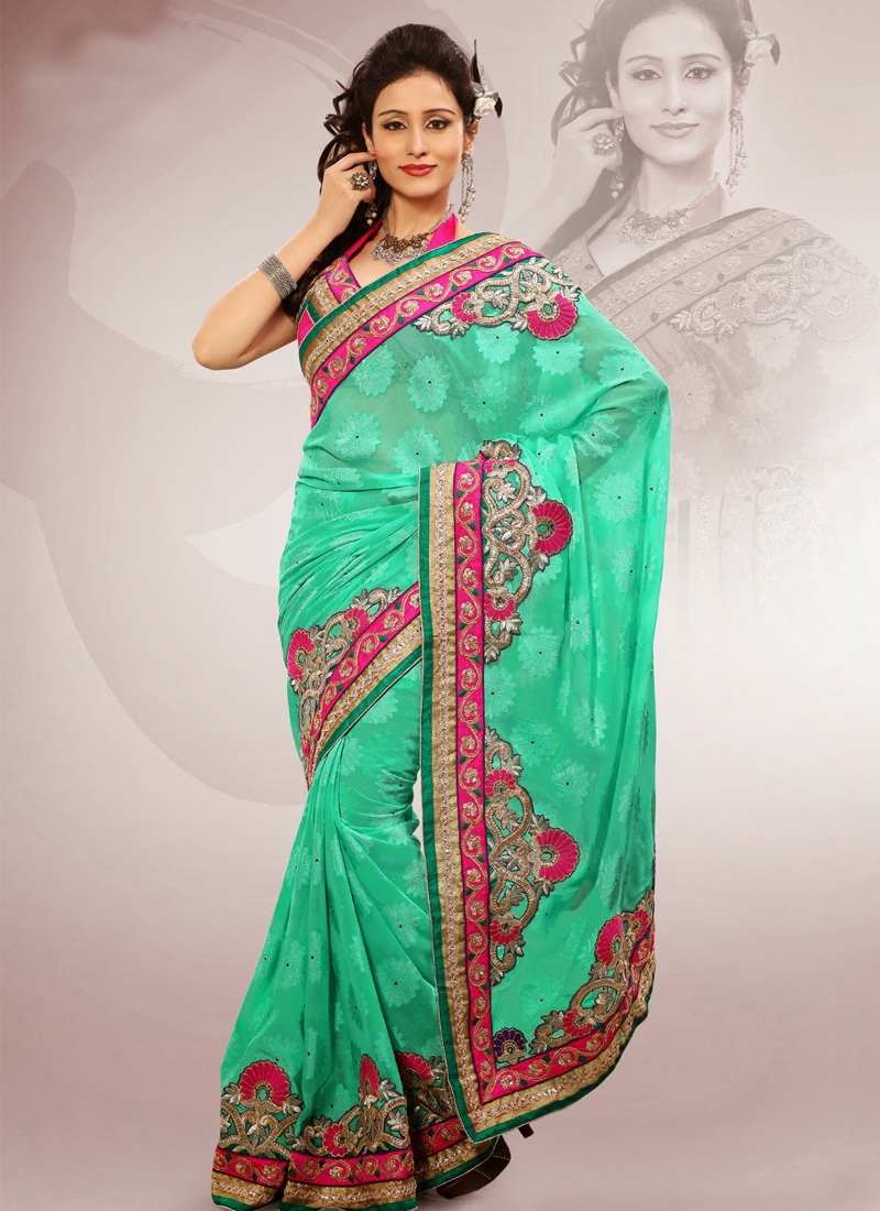 Sea Green Color Resham Work Party Wear Saree